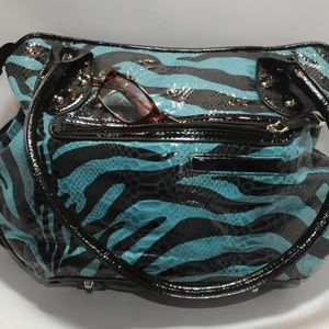 MC Bags - MC Faux Snake Skin Double Strapped Handbag